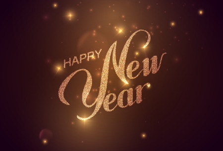 Frohes neues Jahr. Feiertag Illustration. Glänzende Beschriftung Komposition mit Sternen und Sparkles Standard-Bild - 48191083