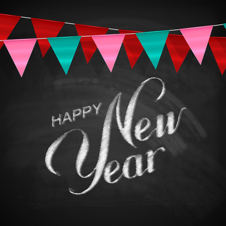 bunting flags: Happy New Year Lettering Chalk Composition With Bunting Flags On The Blackboard Background