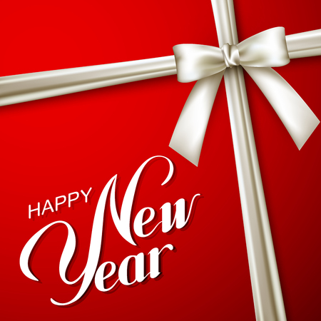 white bow: Happy New Year holiday Illustration. Lettering Composition On The Red Background With White Bow And Ribbon