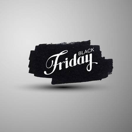 Black Friday Sale label on the grunge ink stain. Promotional banner template with lettering composition