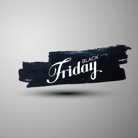 ink stain: Black Friday Sale label on the grunge ink stain. Promotional banner template with lettering composition