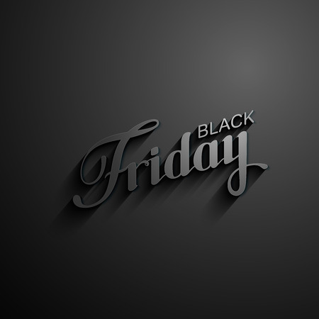 Black Friday Sale label with long shadows. Promotional banner template with lettering composition