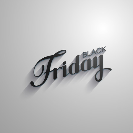 event: Black Friday Sale label with long shadows. Promotional banner template with lettering composition