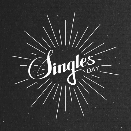 single: Singles Day Lettering Label With Light Rays. Illustration Of Chinese Holiday Illustration