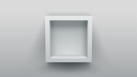 book shelves: empty box shelf. interior design element. advertising poster template.