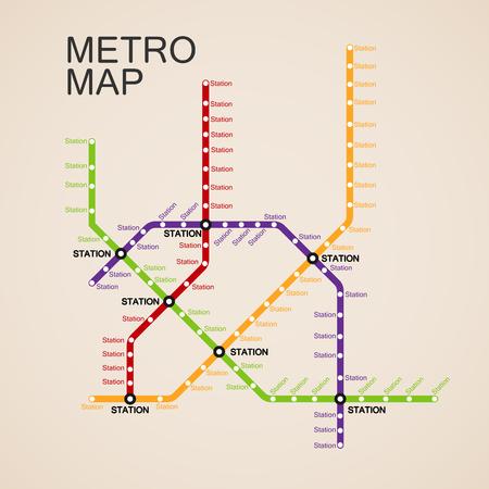 metro o mapa del metro plantilla de diseño. ciudad concepto esquema de transporte.