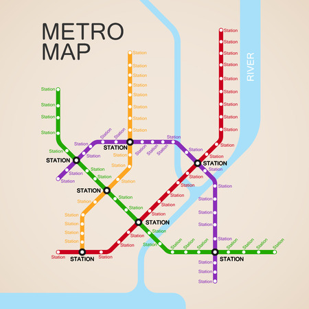 subway road: metro or subway map design template. city transportation scheme concept.