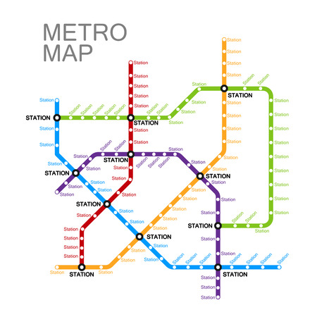 metro or subway map design template. city transportation scheme concept. Banco de Imagens - 48192436