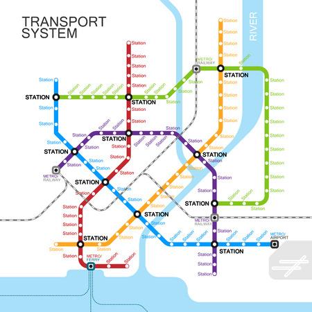 運輸: 地鐵或地鐵地圖設計模板。城市交通方案的概念。