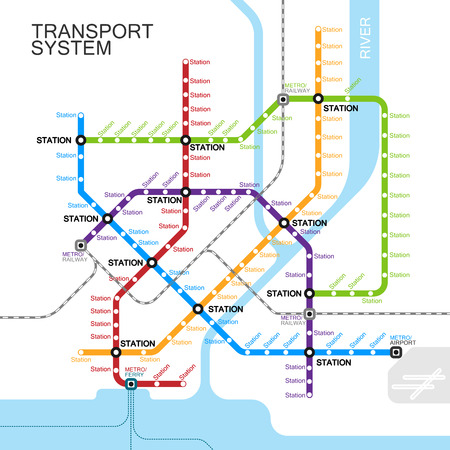 railroad transportation: metro or subway map design template. city transportation scheme concept.