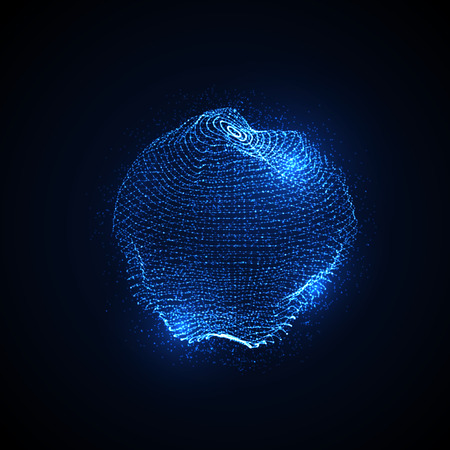 connect the dots: 3D illuminated distorted sphere of glowing particles and wireframe. Futuristic illustration. HUD element. Technology concept Illustration
