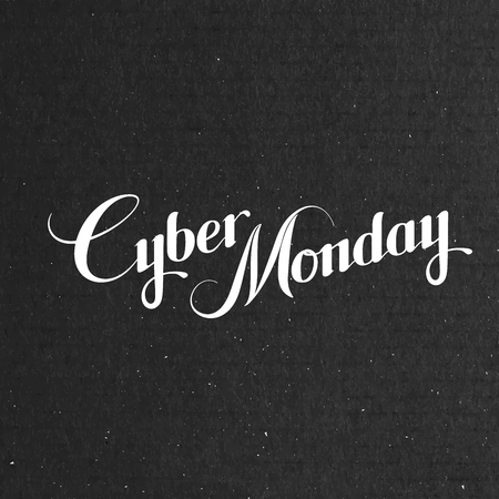 special events: Cyber Monday Sale label on the cardboard texture. Promotional banner template with lettering composition
