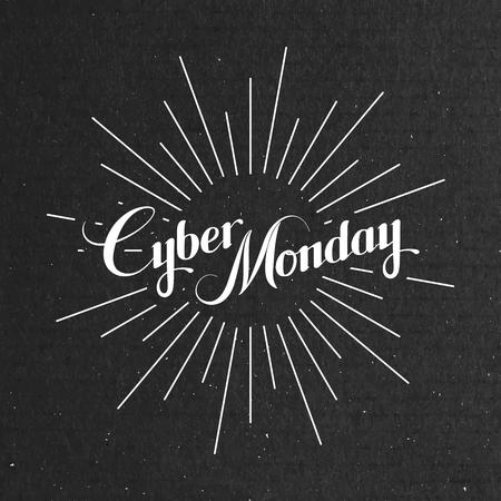 Cyber ??Monday Sale-Label auf dem Karton Textur. Werbe-Banner-Vorlage mit Schriftzug Komposition und Lichtstrahlen Standard-Bild - 48193842
