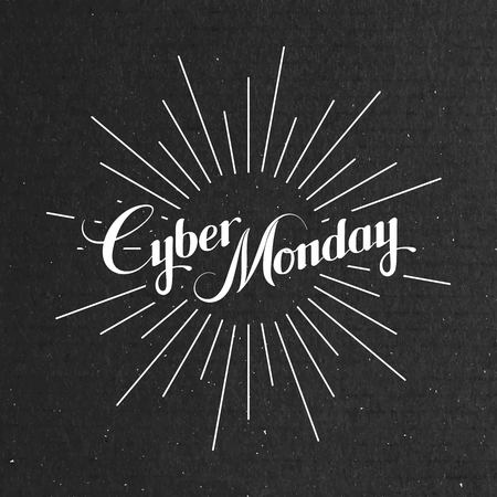 Cyber Monday Sale label on the cardboard texture. Promotional banner template with lettering composition and light rays