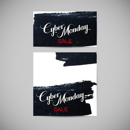 ink stain: Cyber Monday Sale label on the ink stain. Promotional flyer templates Illustration