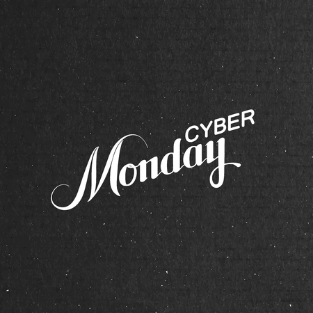Cyber Monday Sale label on the cardboard texture. Promotional banner template with lettering composition