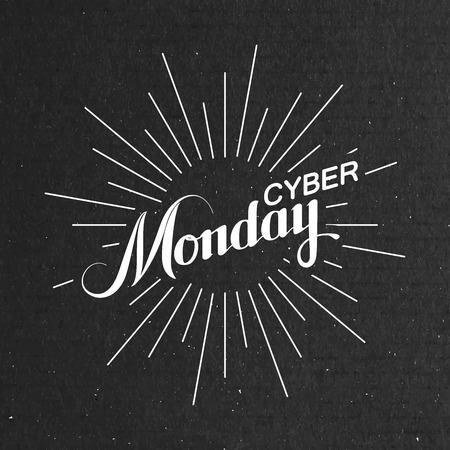 cardboard texture: Cyber Monday Sale label on the cardboard texture. Promotional banner template with lettering composition and light rays