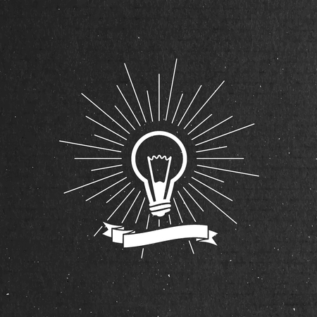 light rays: vector illustration of light bulb label with ribbon and light rays.