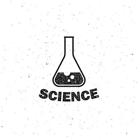 a solution tube: vector illustration of laboratory equipment icon. science concept. letterpress vintage label design.