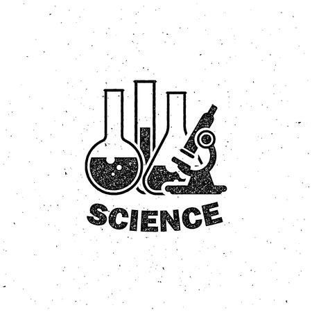 vector illustration of laboratory equipment icon. science concept. letterpress vintage label design.