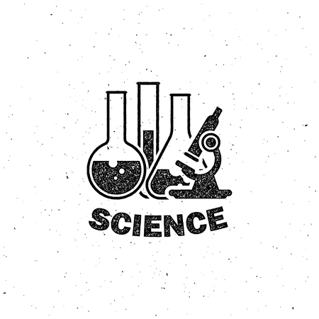 forensics: vector illustration of laboratory equipment icon. science concept. letterpress vintage label design.