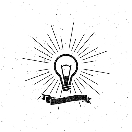 the light rays: vector illustration of light bulb label with ribbon and light rays. letterpress vintage label design.