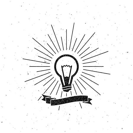 energysaving: vector illustration of light bulb label with ribbon and light rays. letterpress vintage label design.