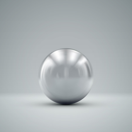 3D metallic sphere with reflections. Vector realistic illustration with silver core