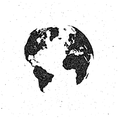 vector illustration of a world map. letterpress vintage globe label design.