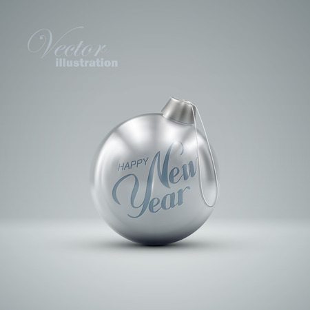 new ball: Christmas ball. Holiday vector illustration of traditional festive Xmas bauble. Merry Christmas and Happy New Year poster design element. Illustration