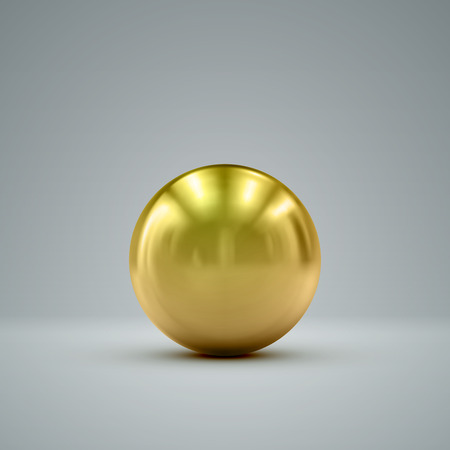 gold metal: 3D metallic sphere with reflections. Vector realistic illustration with golden core