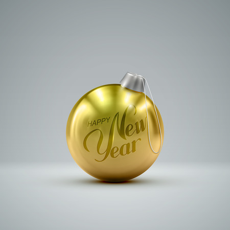 knickknack: Christmas golden ball. Holiday vector illustration of traditional festive Xmas bauble. Merry Christmas and Happy New Year postcard design element.