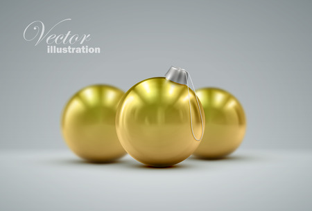 knickknack: Christmas golden balls. Holiday vector illustration of traditional festive Xmas baubles. Merry Christmas and Happy New Year greeting card design element.