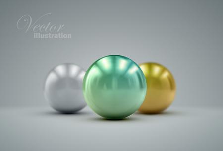 perlas: esfera met�lica 3D con reflejos o perlas. ilustraci�n realista con perlas de colores