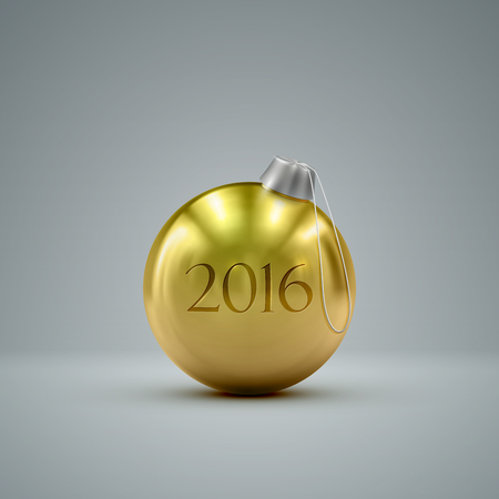 knickknack: Christmas golden ball. Holiday vector illustration of traditional festive Xmas bauble. Merry Christmas and Happy New 2016 Year greeting card design element.