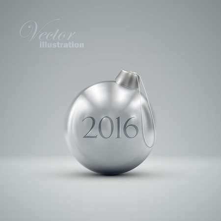 knickknack: Christmas ball. Holiday vector illustration of traditional festive Xmas bauble. Merry Christmas and Happy New 2016 Year greeting card design element.