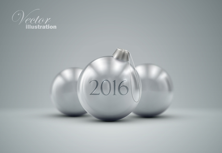 knickknack: Christmas balls. Holiday vector illustration of traditional festive Xmas baubles. Merry Christmas and Happy New 2016 Year greeting card design element.