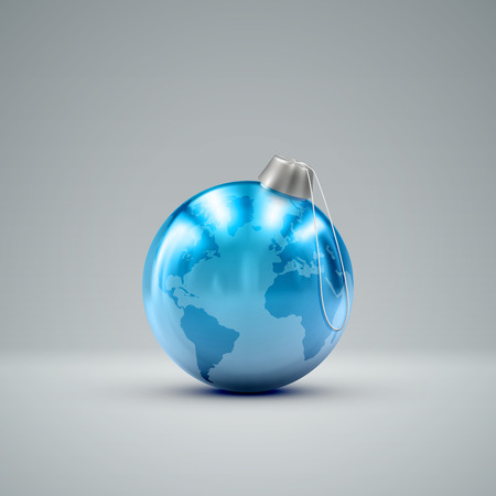 knickknack: Christmas ball. Holiday vector illustration of traditional festive Xmas bauble with global map. Merry Christmas and Happy New Year greeting card design element.