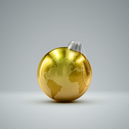 golden ball: Christmas golden ball. Holiday vector illustration of traditional festive Xmas bauble with global map. Merry Christmas and Happy New Year greeting card design element.