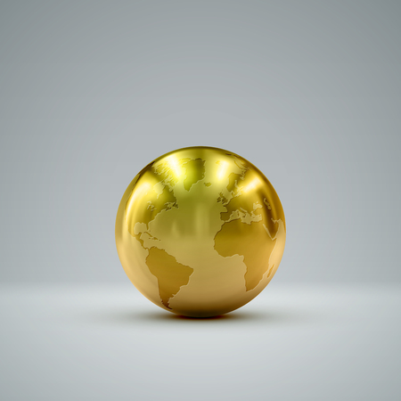 golden globe: 3D metallic sphere with reflections. Vector realistic illustration with golden globe