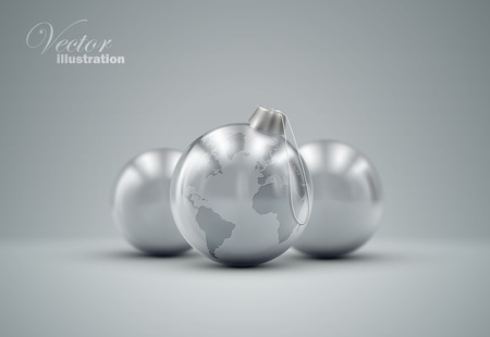 knickknack: Christmas silver balls. Holiday vector illustration of traditional festive Xmas bauble with global map. Merry Christmas and Happy New Year greeting card design element.