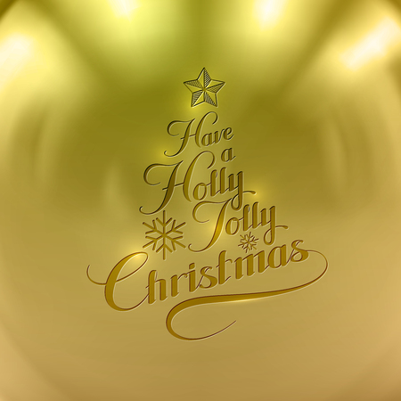 jolly: Holly Jolly Merry Christmas. Vector Holiday Illustration. Lettering Label Have A Holly Jolly Christmas On Golden Background Illustration
