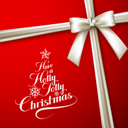jolly: Holly Jolly Merry Christmas. Vector Holiday Illustration. Lettering Label Have A Holly Jolly Christmas On Red  Background With White Ribbon Illustration