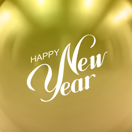 date night: Happy New Year. Vector Holiday Illustration With Lettering Label On Golden Background