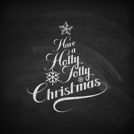 jolly: Holly Jolly Merry Christmas. Vector Holiday Illustration. Chalk Lettering Label Have A Holly Jolly Christmas On Blackboard  Background