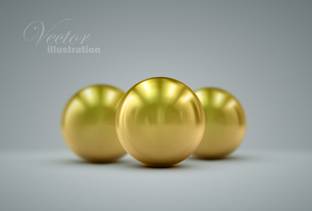 pearl: 3D metallic sphere with reflections. Vector realistic illustration with golden cores