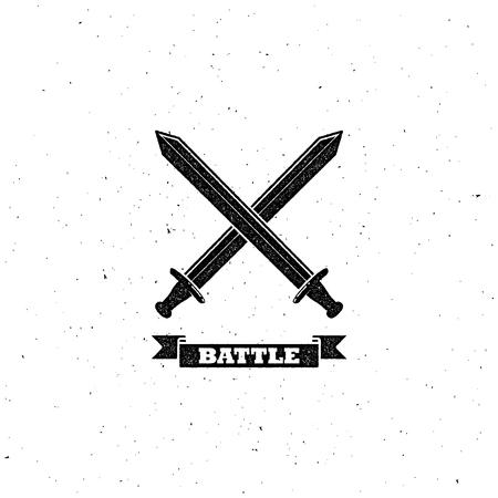 swordsmanship: vector illustration with crossing swords. letterpress vintage label design. coat of arms concept