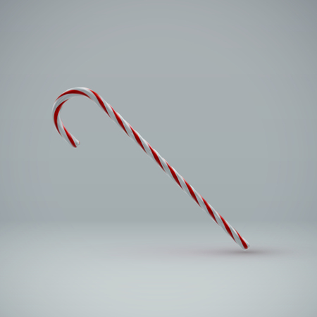 candycane: Christmas Candy Cane. Vector Illustration of Christmas Sweet Candy