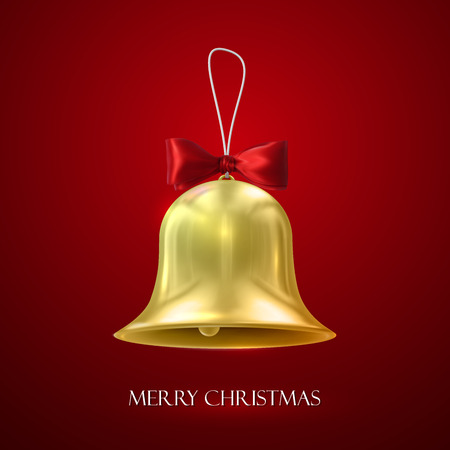 christmas bell: Golden Christmas Bell. Vector Holiday Illustration Of Golden Bell With Red Bow Illustration