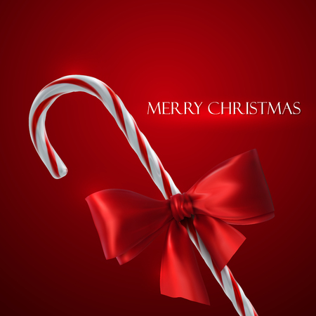 candycane: Christmas Candy Cane. Vector Holiday Illustration of Christmas Sweet Candy And Red Bow Illustration